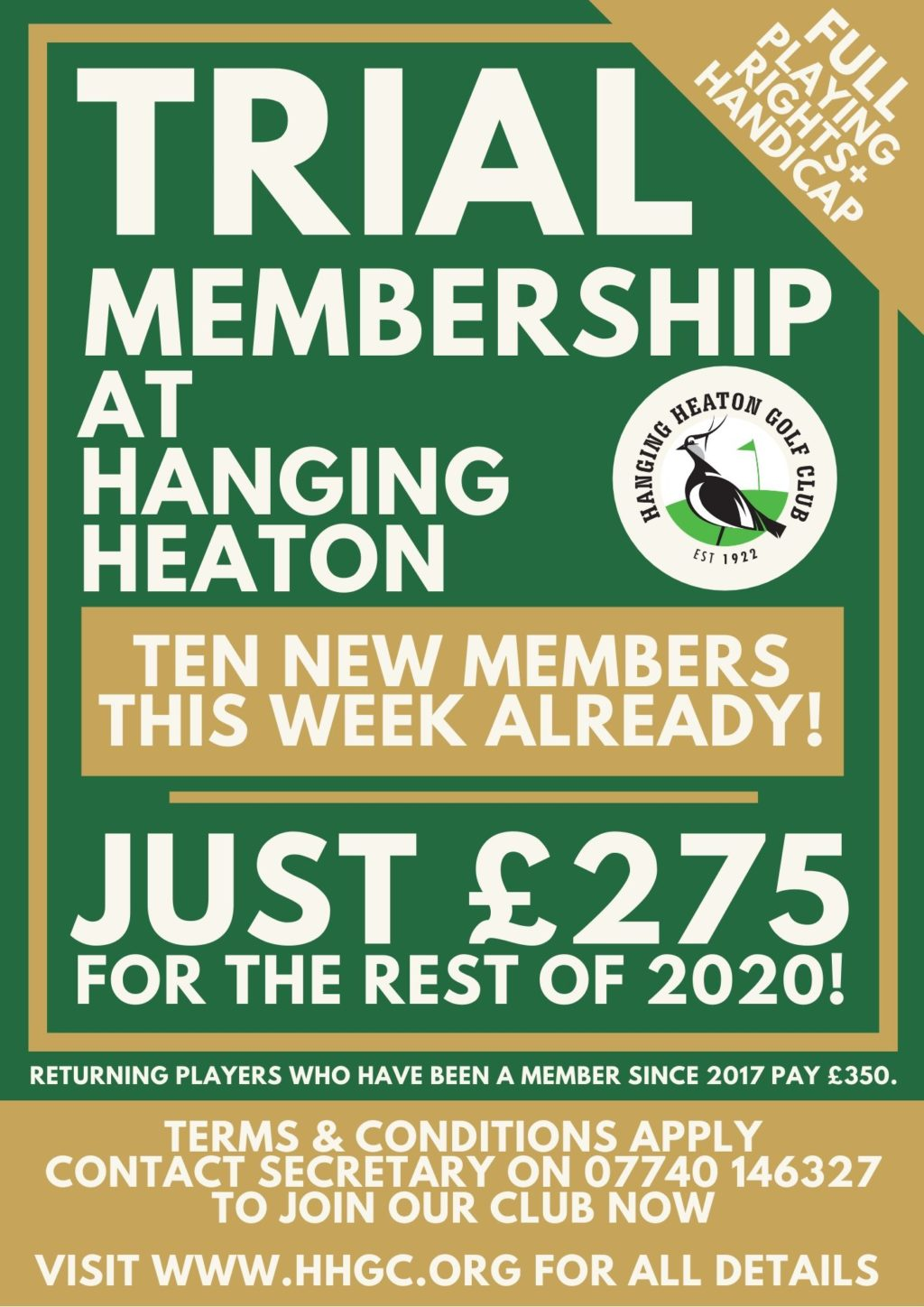 trial membership at hanging heaton golf club proves an early success